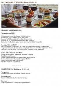 Menü Restaurant 58 tour eiffel