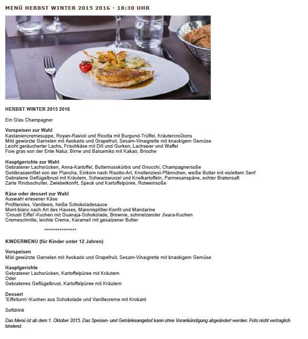 Speisekarte  Abendmenü Sommer 2016 Restaurant 58-tour-eiffel