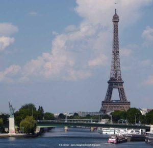 Eiffelturm Paris Blick Seine Freiheitsstatue